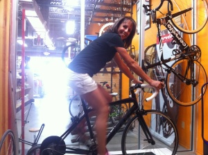 One of my TNT run coaches on her first bike as a result of all this talk!!! She's gonna be fierce!!