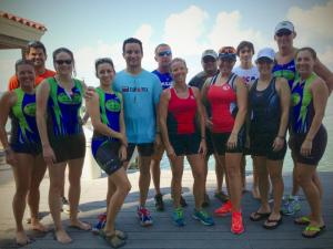 Coach Sandy Overly and the Multisport Lifestyle Fitness Maniacs at open water swim practice