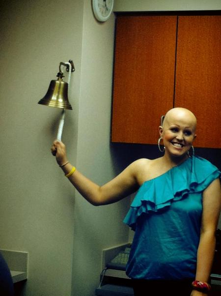 Taylor ringing the cancer free bell