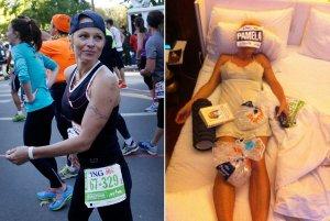 Pamela Anderson during and after the 2013 New York City Marathon on Sunday, Nov. 3, 2013. (Left: Seth Wenig / Associated Press; right: Pamela Anderson / Twitter)