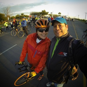 "McAllen Cable Network camera man, Jose Esqueda, takes a ""selfie"" with me just before we all took off on our bikes."