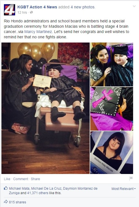 Rio Hondo administrators and school board members held a special graduation ceremony for Madison Macias who is battling stage 4 brain cancer..via Marcy Martinez. Let's send her congrats and well wishes to remind her that no one fights alone.
